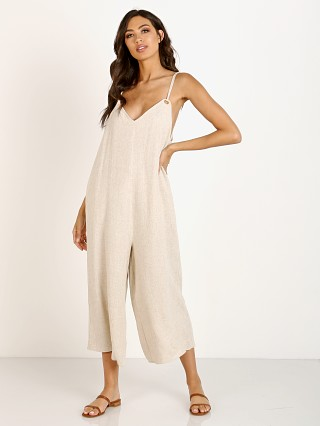Model in cream linen Show Me Your Mumu Jansen Jumpsuit