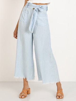 Model in chambray Show Me Your Mumu Lasso Pants