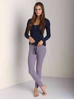 Juicy Couture Cozy Thermal Legging Pink and Regal Stripes