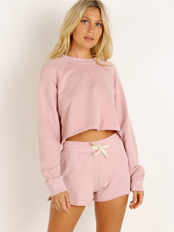 Model in blush NIA Vintage Cropped Pullover