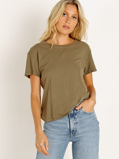 Model in moss Nation LTD Marie Recycled Cotton Boxy Crop Tee
