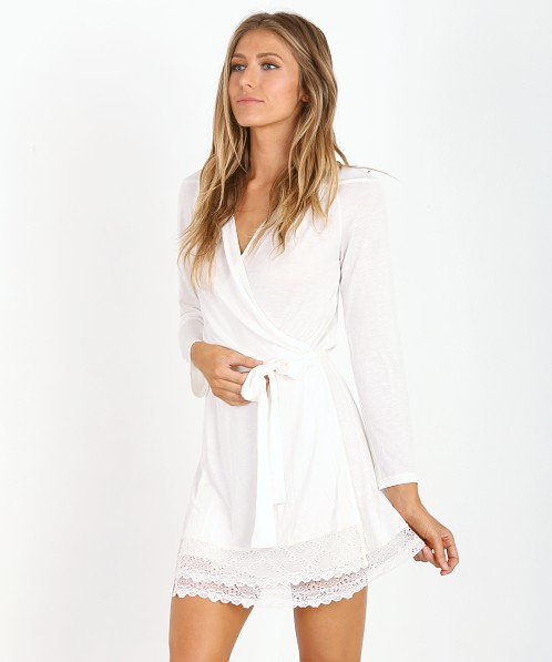 Only Hearts Venice Short Robe with Lace Antique White