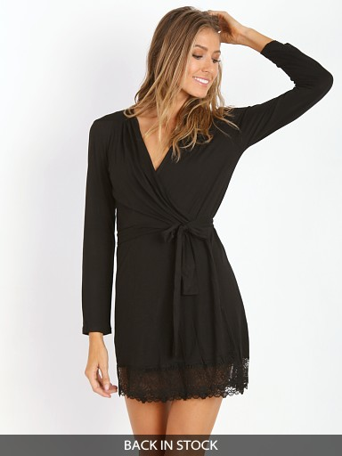 Only Hearts Venice Short Robe with Lace Black
