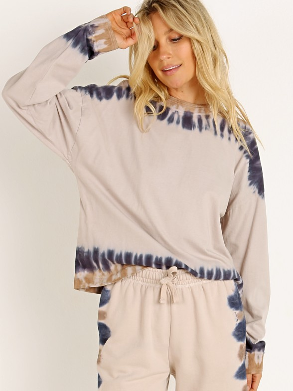 Model in tie dye Richer Poorer Relaxed Long Sleeve Pullover