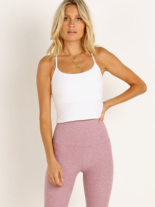 Model in cloud white Beyond Yoga Spacedye Slim Racerback Cropped Tank