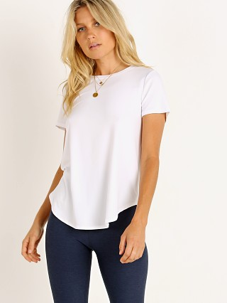 Model in cloud white Beyond Yoga Featherweight On The Down Low Tee