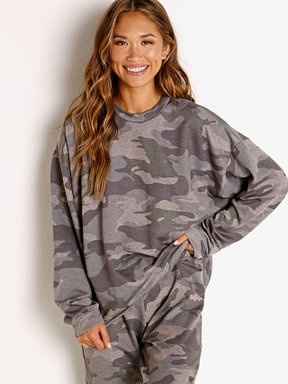 Model in combat camo Onzie Boyfriend Sweatshirt
