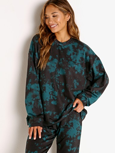 Model in emerald green Onzie Boyfriend Sweatshirt  Tie Dye