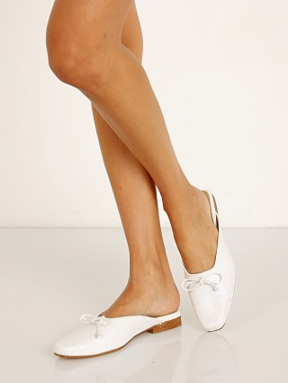 Model in white Kaanas Seville Square Toe Ballerina Mule