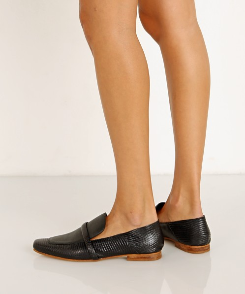 Kaanas Turin Lizzard Square Toe Loafer Black