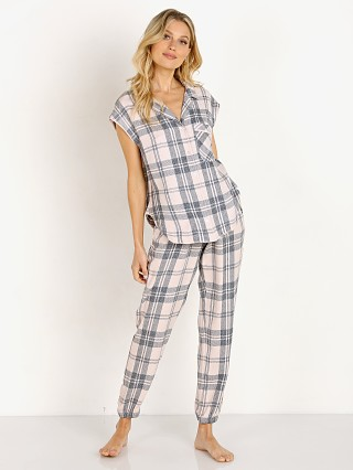 Model in peach silk plaid Bella Dahl Sleep Tee & Jogger