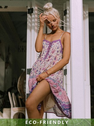 Spell & The Gypsy Portobello Road Strappy Mini Dress Lavender