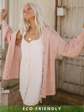 Spell & The Gypsy Pearl On Pearl Knit Cardigan Rose