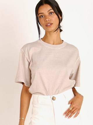 Model in mushroom Richer Poorer Relaxed Short Sleeve Crop Tee