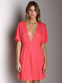 Vitamin A Gold Paradise Plunge Tunic Coral Shantung