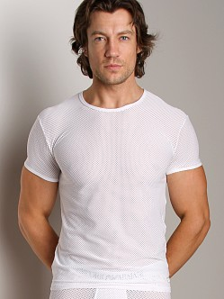 Emporio Armani Cool Mesh Crew Neck Shirt White