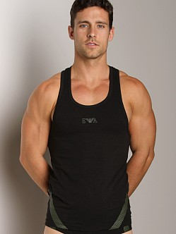 Emporio Armani Seven Stripes Stretch Cotton Tank Top Black