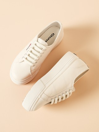 Superga 2790 Nappalea Leather Platform Sneaker White