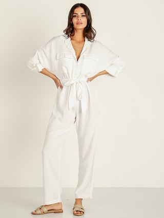 Model in white Stillwater The Luna Jumpsuit