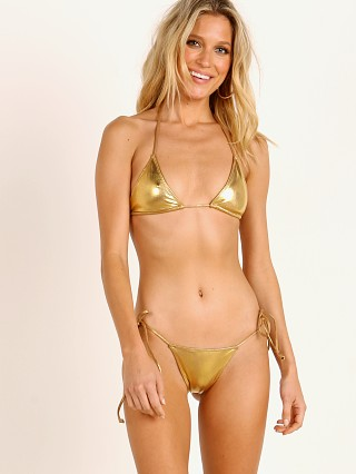 Indah Alta Basic Triangle Bikini Top Gold Foil