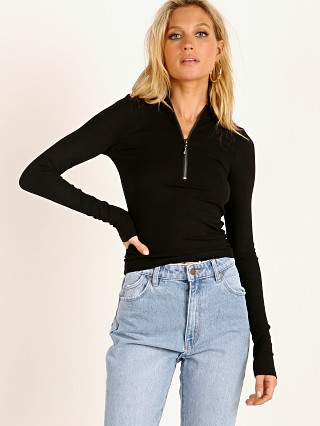 Joah Brown Half Zip Rib Mock Neck Black