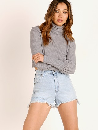 Joah Brown Brooklyn Rib Sweater Knit Turtleneck Grey