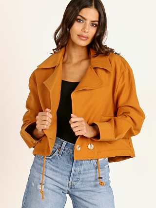 Model in caramel ASTR the Label En Route Jacket