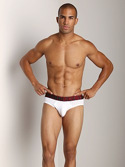 2xist Tartan No-Show Brief White
