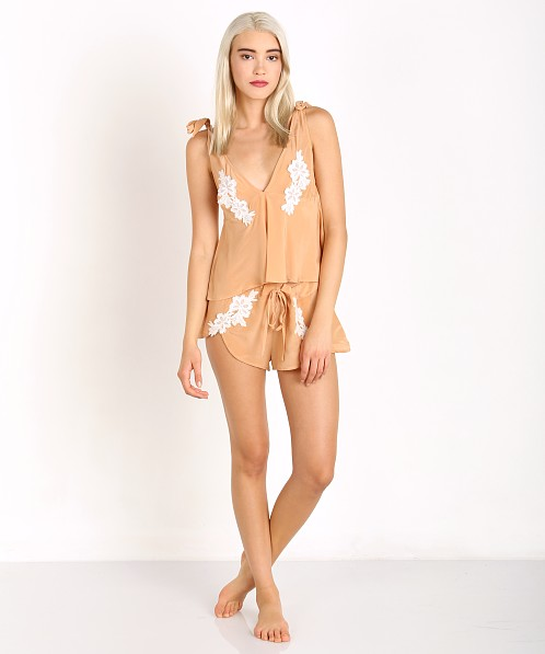 SKIVVIES by For Love & Lemons Adeline PJ Top Peach Creme