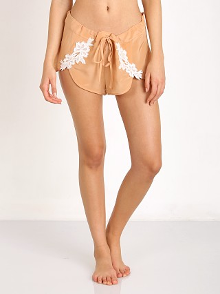 SKIVVIES by For Love & Lemons Adelina PJ Shorts Peach Creme