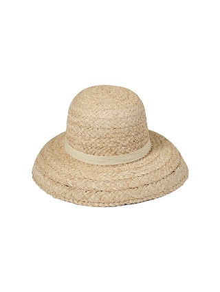 Model in natural Lack of Color Bloom Raffia Hat