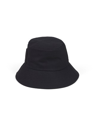 Model in black Lack of Color Wave Bucket Hat