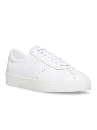 Model in white Superga 2843 Club S Full Comfort Leather Sneaker