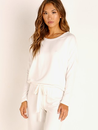 Model in winter white Eberjey Winter Heather The Slouchy Top White