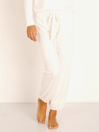 Model in winter white Eberjey Winter Heather The Cropped Pant White