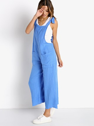 Model in moroccan blue 9seed Latigo Cropped Overall