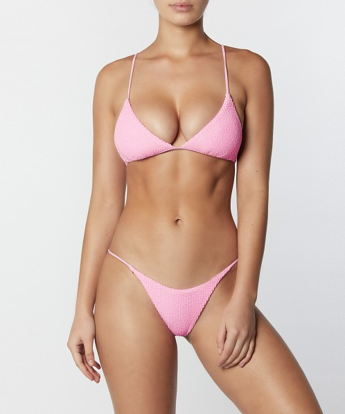 IT'S NOW COOL String Bikini Bottom Crinkle Pink