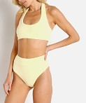 IT'S NOW COOL Terry Halter Top Bikini Lemon, view 3