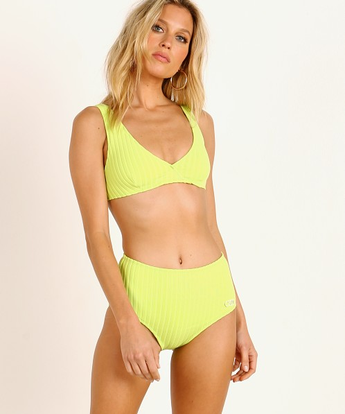 Solid & Striped Beverly Bikini Top Chartreuse Rib