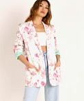 For Love & Lemons Weston Denim Blazer Pink Floral, view 2