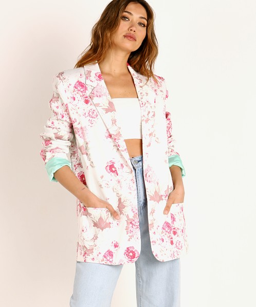 For Love & Lemons Weston Denim Blazer Pink Floral