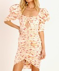 For Love & Lemons Aster Floral Midi Dress Peach Floral, view 3