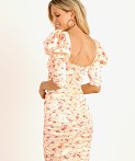 For Love & Lemons Aster Floral Midi Dress Peach Floral, view 4
