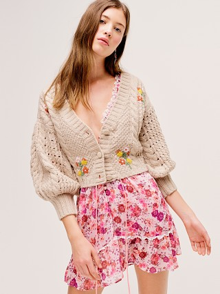 For Love & Lemons Amaryllis Cropped Cardigan Wheat