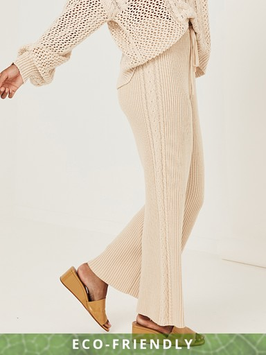 Model in sand Spell Kalani Rib Knit Pant