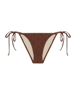 Model in raisin Peony String Tri Bikini Bottom