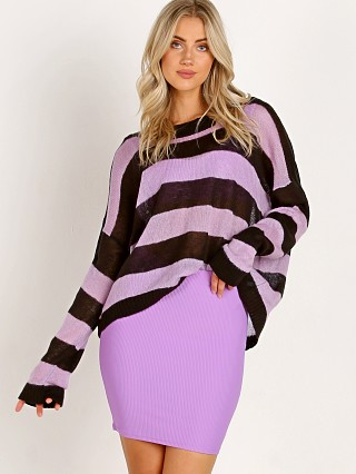 Indah Marshmallow Oversize Sweater Lilac/Black Stripe