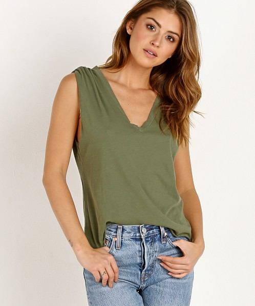 LNA Clothing Essential Cotton Lyle Sleeveless Tee Military Green