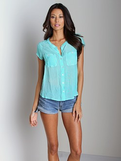 Free People Spellbound Button Up Neon Mint
