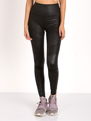alo High Waist Leather Moto Leggings Black